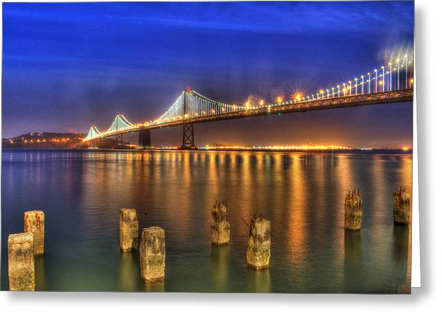 Bay Bridge Greeting Cards - Night Lights Greeting Card by Patricia Dennis