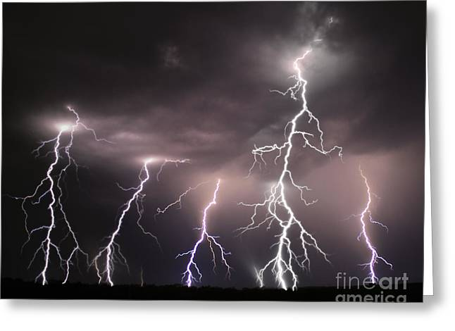 Stormy Weather Greeting Cards - Night Lights Thunder and Lightning Storm Greeting Card by Reid Callaway