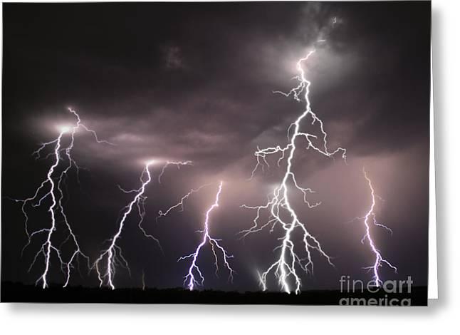 Dark Skies Greeting Cards - Night Lights Thunder and Lightning Storm Greeting Card by Reid Callaway