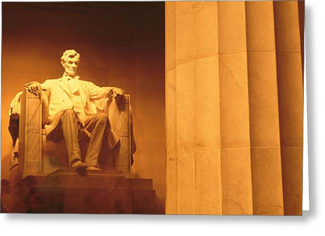 Historic Statue Greeting Cards - Night, Lincoln Memorial, Washington Dc Greeting Card by Panoramic Images