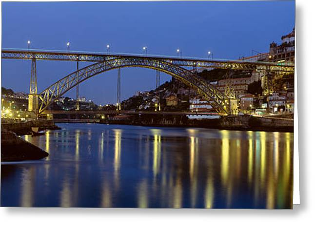 Luis Greeting Cards - Night, Luis I Bridge, Porto, Portugal Greeting Card by Panoramic Images