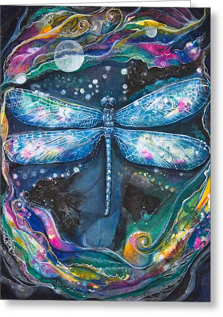 Nighttime Mixed Media Greeting Cards - Night Magic Dragonfly Greeting Card by Patricia Allingham Carlson