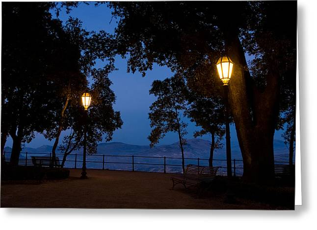Latern Greeting Cards - Night meeting Greeting Card by Marco Busoni