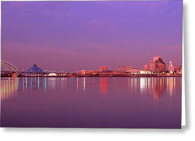 Waterways Greeting Cards - Night Memphis Tn Greeting Card by Panoramic Images