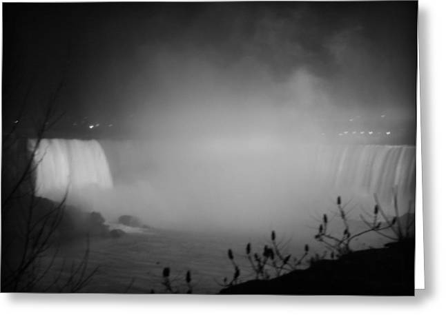 River Flooding Greeting Cards - Night Mist-Niagara Falls Greeting Card by Kathy Peltomaa Lewis