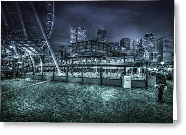 Seattle Waterfront Greeting Cards - Seattle City Light Greeting Card by Spencer McDonald