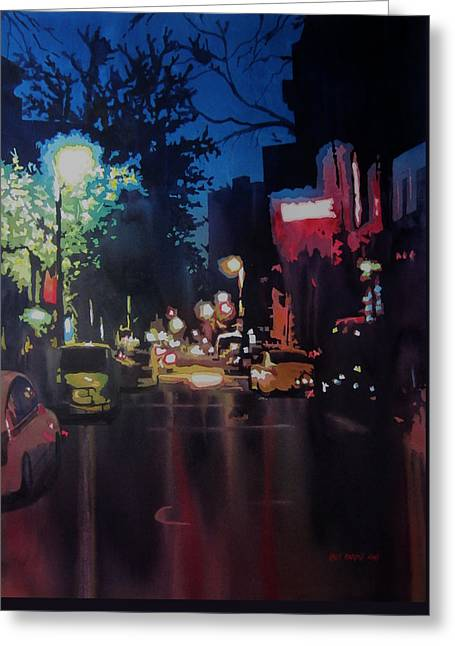 Headlight Paintings Greeting Cards - Night Moves West Village Greeting Card by Kris Parins