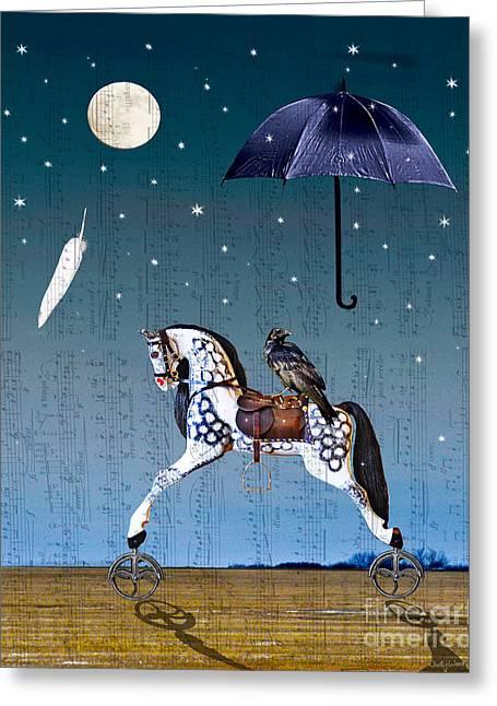 Rocking Horse Digital Greeting Cards - Night Music Greeting Card by Judy Wood