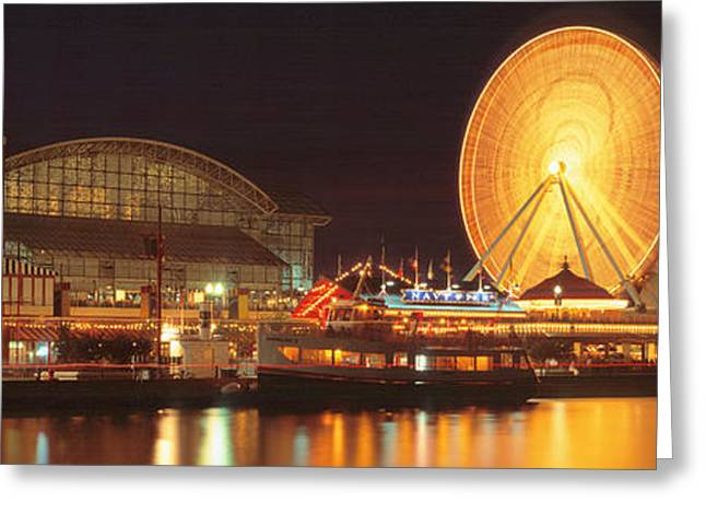 Amusements Greeting Cards - Night Navy Pier Chicago Il Usa Greeting Card by Panoramic Images