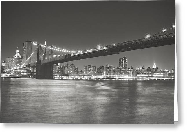 Manhattan Night Greeting Cards - Night - New York City - Brooklyn Bridge Greeting Card by Vivienne Gucwa