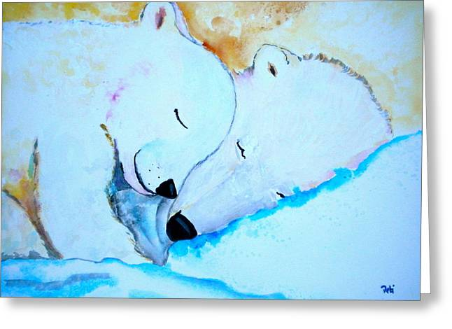 Furry Coat Greeting Cards - Night Night Greeting Card by Debi Starr
