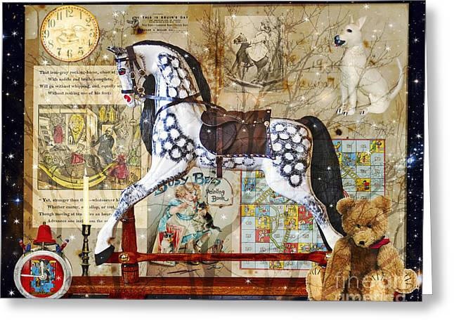 Rocking Horse Digital Greeting Cards - Night Nursery Greeting Card by Judy Wood