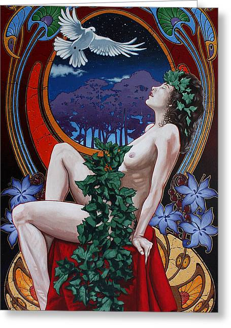 Art Nouveau Paintings Greeting Cards - Night Nymph Greeting Card by Gary Kroman
