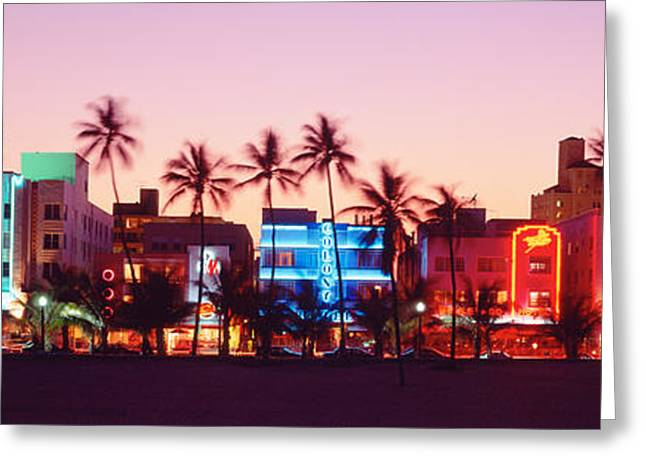 Night Life Greeting Cards - Night, Ocean Drive, Miami Beach Greeting Card by Panoramic Images