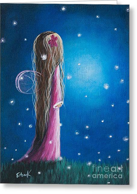 Star Nursery Greeting Cards - Night Of 50 Wishes Fairy Print by Shawna Erback Greeting Card by Shawna Erback