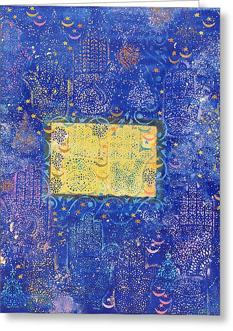 Amulets Greeting Cards - Night Of Destiny, 1990 Acrylic & Gold Leaf On Board Greeting Card by Laila Shawa