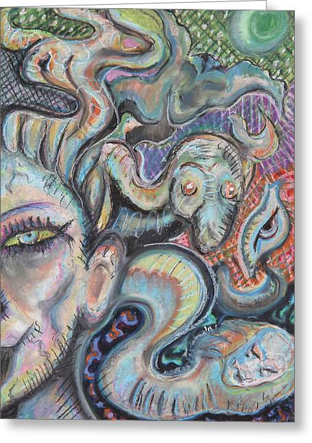 Snakes Pastels Greeting Cards - Night of Medusa Greeting Card by Lord Bing