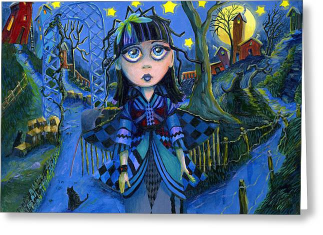 Black Cat Hills Greeting Cards - Night of Sad Stars Greeting Card by Jacquelin Vanderwood