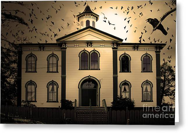 Potter School House Greeting Cards - Night of The Birds . Sepia . 7D12487 Greeting Card by Wingsdomain Art and Photography