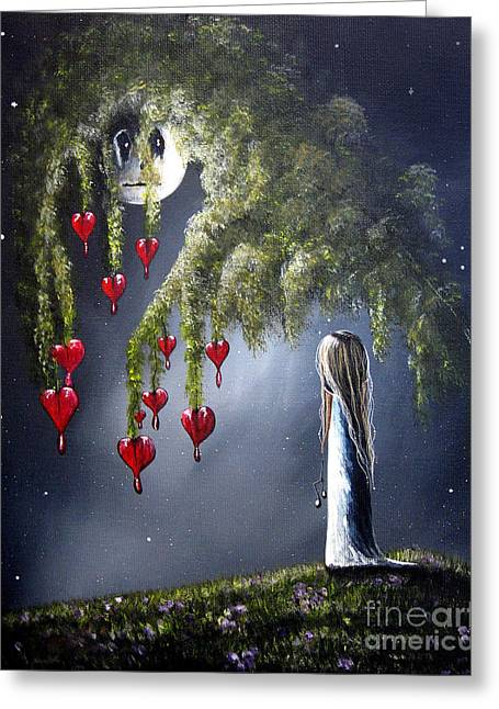 Forest At Night Greeting Cards - Night Of The Bleeding Hearts by Shawna Erback Greeting Card by Shawna Erback