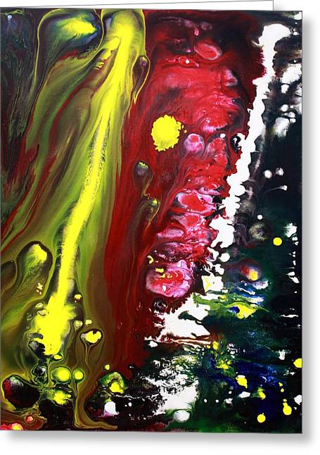 Acrylic Pour Greeting Cards - Night Of The Comet 2 Greeting Card by Laura Barbosa