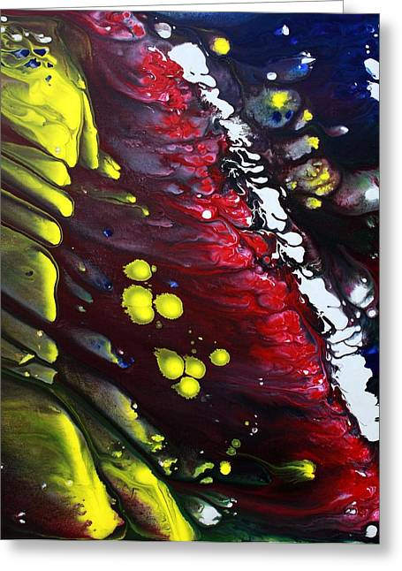 Acrylic Pour Greeting Cards - Night Of The Comet 3 Greeting Card by Laura Barbosa