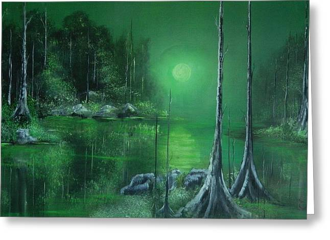 Green Day Paintings Greeting Cards - Night of the forest  Greeting Card by Daniel Sanchez