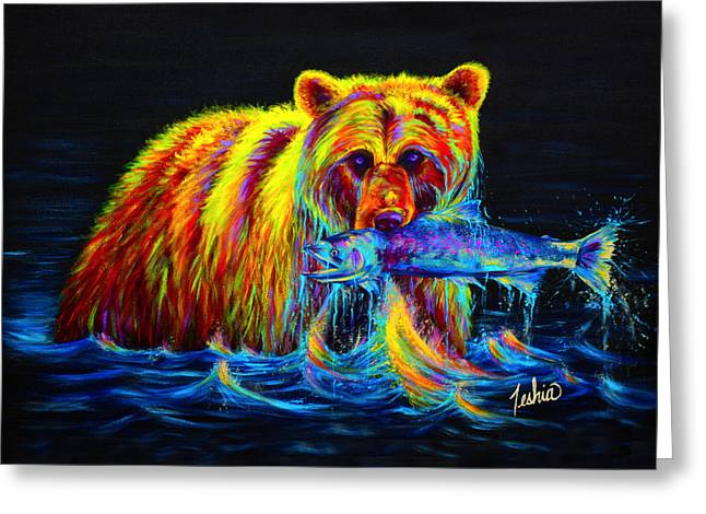 Green Greeting Cards - Night of the Grizzly Greeting Card by Teshia Art