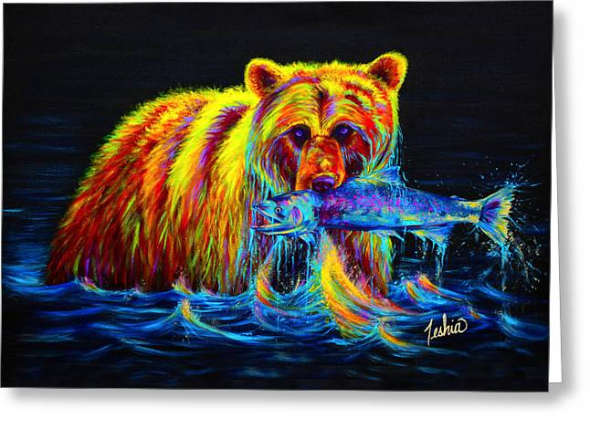 Green Contemporary Greeting Cards - Night of the Grizzly Greeting Card by Teshia Art