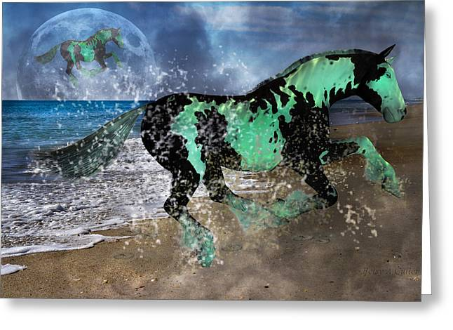 Fantasy Creatures Greeting Cards - Night of the Horse Greeting Card by Betsy A  Cutler