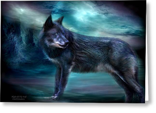 Moonlight Mixed Media Greeting Cards - Night Of The Wolf Greeting Card by Carol Cavalaris