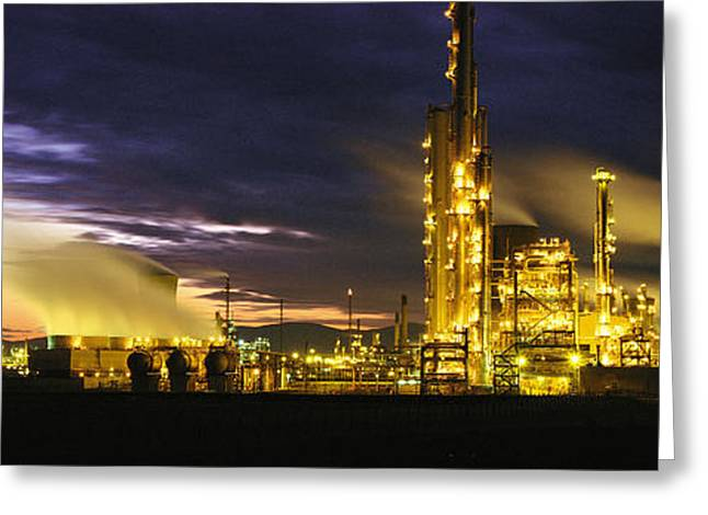 Smokestack Greeting Cards - Night Oil Refinery Greeting Card by Panoramic Images