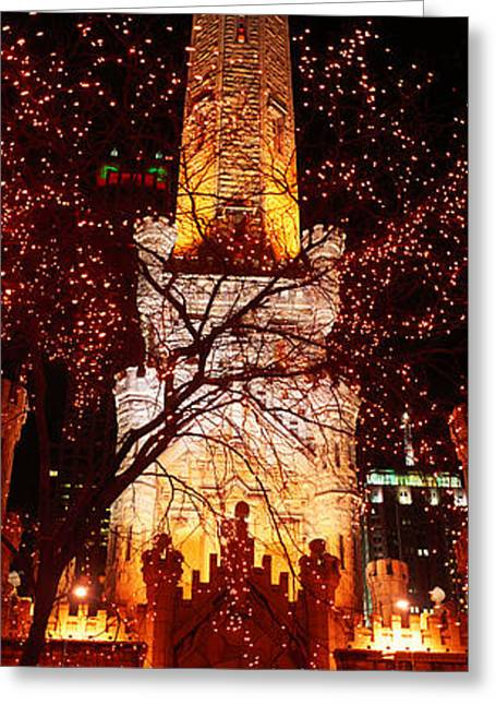 Watertower Greeting Cards - Night, Old Water Tower, Chicago Greeting Card by Panoramic Images
