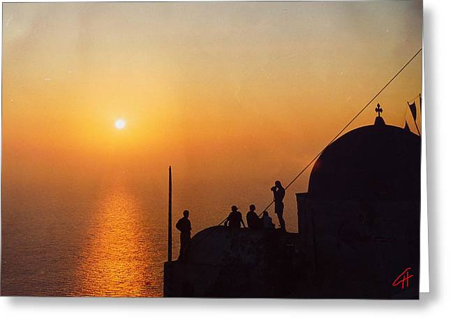 Oceon Greeting Cards - Night on Santorini Island  Greeting Card by Colette V Hera  Guggenheim