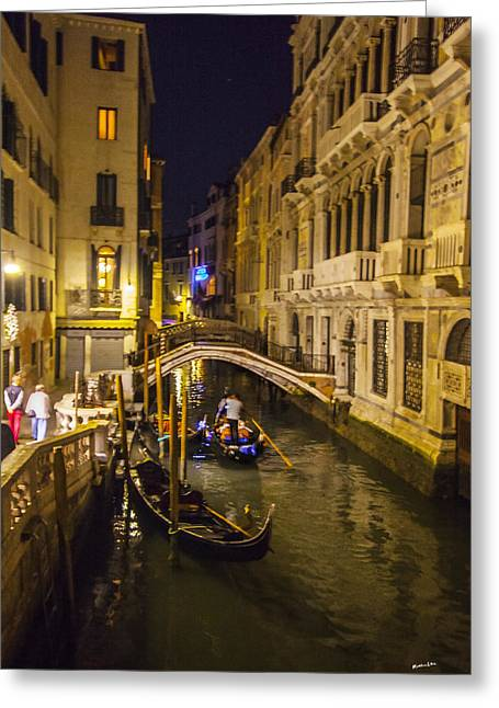 Gondolier Greeting Cards - Night on the Canal - Venice - Italy Greeting Card by Madeline Ellis
