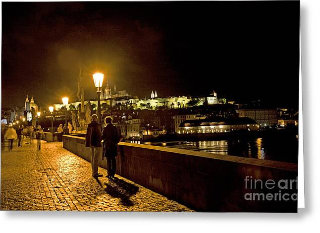 Lamplight Greeting Cards - Night On The Charles Bridge Greeting Card by Madeline Ellis