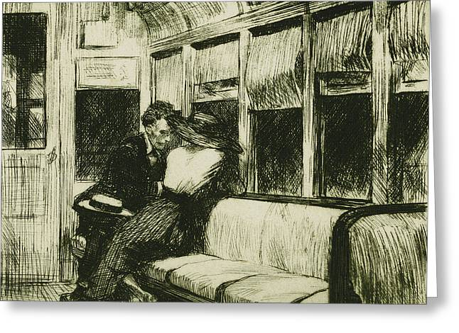 White Drawings Greeting Cards - Night on the El Train Greeting Card by Edward Hopper