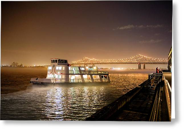 River Scenes Greeting Cards - Night on the River Greeting Card by Bonnie Barry