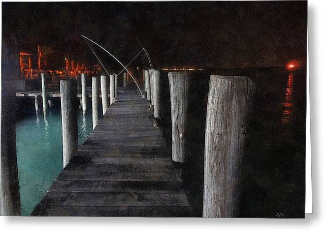 Torchlight Greeting Cards - Night on the River Crab Dock Greeting Card by Rick Lloyd