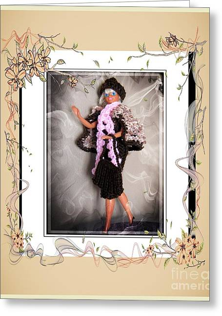 Knitted Dress Greeting Cards - Night on the Town - Fashion Doll - Girls - Collection Greeting Card by Barbara Griffin