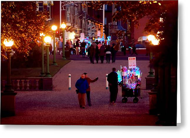 Night On The Town Greeting Card by Susan Tinsley