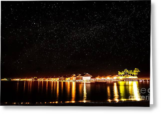 Illuminate Greeting Cards - Night on tropical resort Greeting Card by Anna Omelchenko