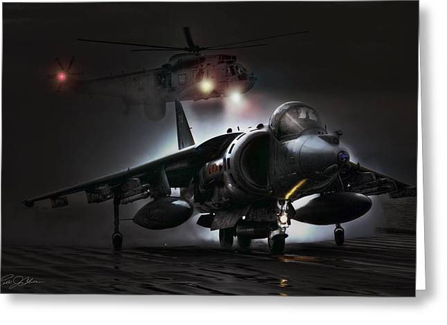 Carrier Digital Art Greeting Cards - Night Ops Greeting Card by Peter Chilelli
