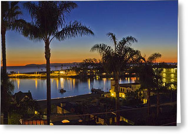 Roller Blades Greeting Cards - Night over Newport Beach Panorama Greeting Card by Harold Vaagan