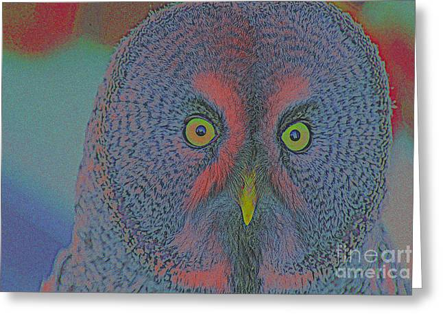 Creative Manipulation Mixed Media Greeting Cards - Night Owl Greeting Card by Celestial Images