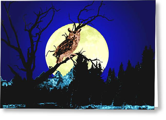 Snowy Night Mixed Media Greeting Cards - Night Owl Greeting Card by Aleirah Stevens
