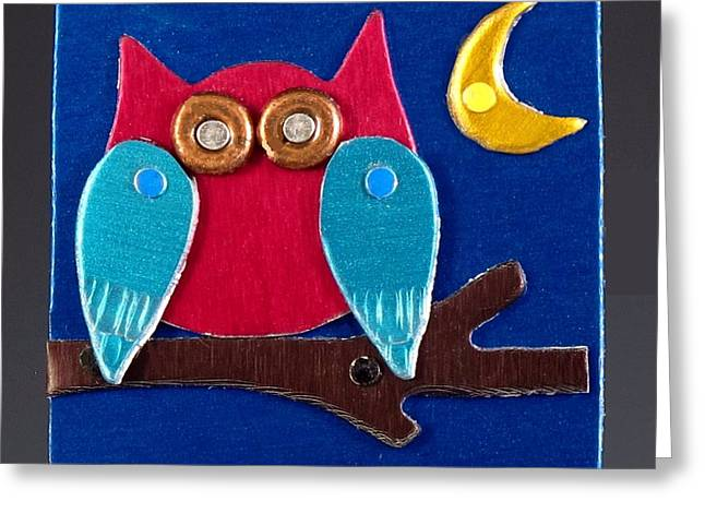 Colorful Jewelry Greeting Cards - Night Owl Greeting Card by Barbara Lager