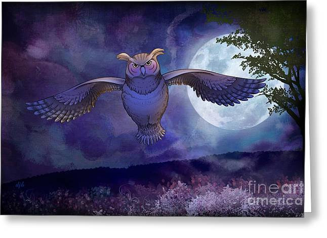 Night Owl Greeting Card by Bedros Awak