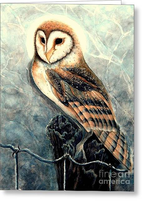 Moonlit Night Greeting Cards - Night Owl Greeting Card by Janine Riley