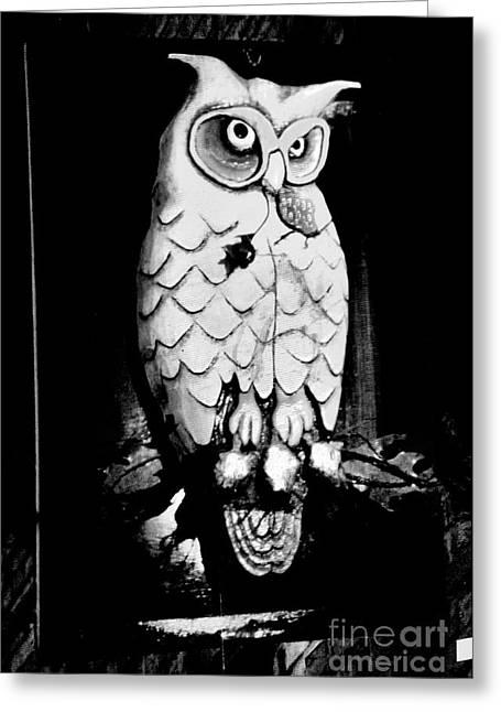 Strange Owl Greeting Cards - Night Owl Greeting Card by Newel Hunter